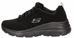 SKECHERS LACA UP WEDGE W/MF LEATHER BLACK