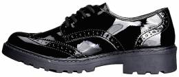 GEOX JCASEY BLACK PATENT BROGUE GIRLS 1